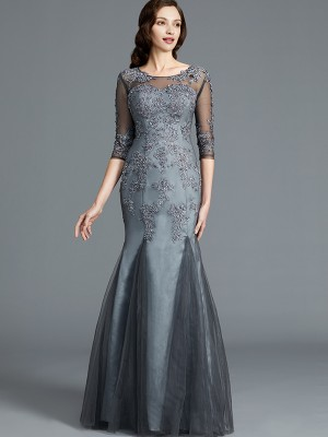 Sheath/Column Scoop 1/2 Sleeves Floor-Length Tulle Mother of the Bride Dresses with Applique