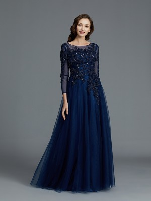 A-Line Scoop Floor-Length Dark Navy Mother of the Bride Dresses