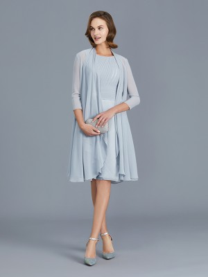 A-Line/Princess Scoop Sleeveless Knee-Length Chiffon Mother of the Bride Dresses with Ruffles