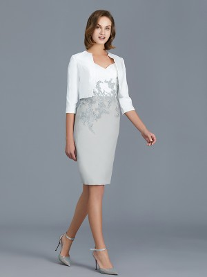 Sheath/Column V-neck 1/2 Sleeves Knee-Length Chiffon Mother of the Bride Dresses with Ruffles