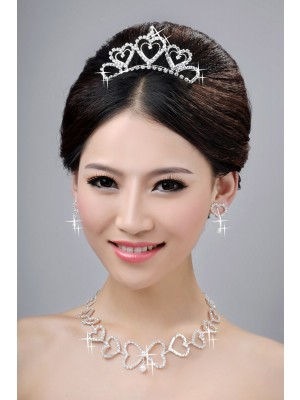 Awesome Alloy Clear Crystals Hearts Wedding Party Earrings Set