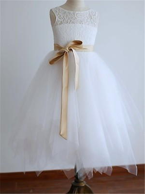 A-Line/Princess Scoop Sleeveless Tea-Length Tulle Flower Girl Dresses with Sash/Ribbon/Belt