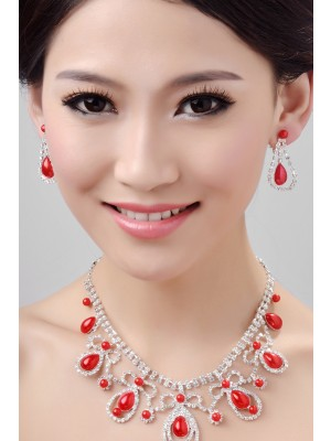 Glamorous Alloy Wedding Necklaces Earrings Set