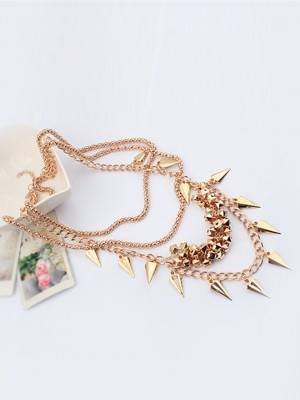 Occident Hyperbolic Stylish Street shooting style Button screw Metallic Multi-layered Fashion Necklace