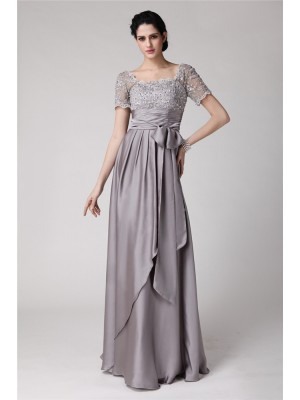 Sheath/Column Square Short Sleeves Floor-Length Elastic Woven Satin Mother of the Bride Dresses with Beading Applique