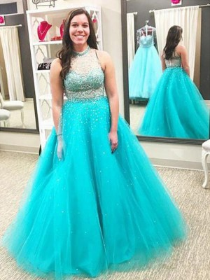 Ball Gown High Neck Sleeveless Floor-Length Tulle Dresses with Beading