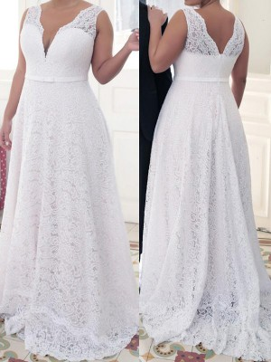 A-Line/Princess V-neck Sleeveless Sweep/Brush Train Lace Dresses with Lace