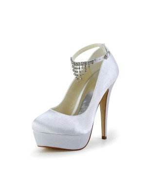 Nice Satin Stiletto Heel Closed Toe With Rhinestone White Wedding Shoes
