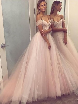 A-Line/Princess Off-the-Shoulder Sleeveless Sweep/Brush Train Tulle Dresses with Beading