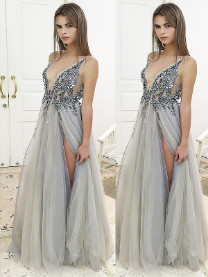 A-Line/Princess V-neck Sleeveless Floor-Length Tulle Dresses with Beading