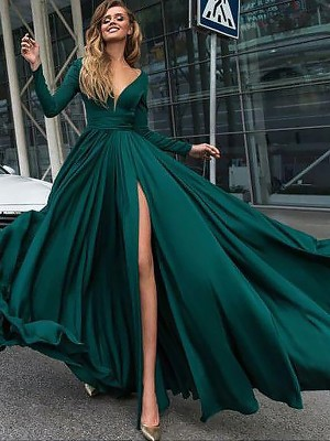 A-Line/Princess V-neck Long Sleeves Sweep/Brush Train Satin Chiffon Dresses with Ruffles