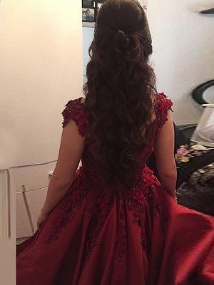 Ball Gown Off-the-Shoulder Sleeveless Floor-Length Satin Dresses with Applique