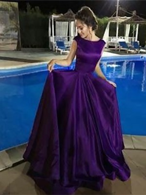 A-Line/Princess Bateau Sleeveless Floor-Length Satin Dresses with Ruffles