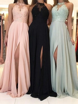 A-Line/Princess Halter Sleeveless Sweep/Brush Train Chiffon Dresses with Applique