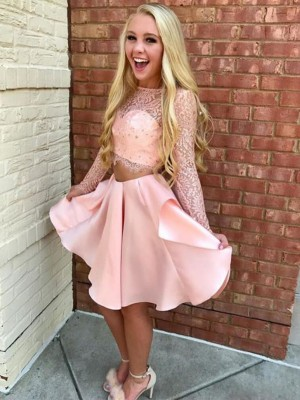 A-Line/Princess Sheer Neck Long Sleeves Short/Mini Satin Homecoming Dresses with Lace