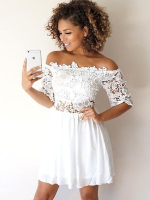 A-Line/Princess Off-the-Shoulder 1/2 Sleeves Short/Mini Chiffon Dresses with Applique