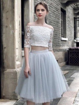 A-Line/Princess Off-the-Shoulder 1/2 Sleeves Knee-Length Tulle Ruched Dresses
