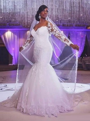 Trumpet/Mermaid Sweetheart Long Sleeves Sweep/Brush Train Tulle Wedding Dresses with Applique
