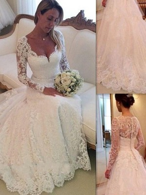 Ball Gown V-neck Long Sleeves Court Train Tulle Wedding Dresses with Lace