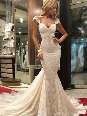 Trumpet/Mermaid V-neck Sleeveless Chapel Train Lace Wedding Dresses with Lace