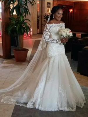 Trumpet/Mermaid Off-the-Shoulder Long Sleeves Sweep/Brush Train Tulle Wedding Dresses with Lace