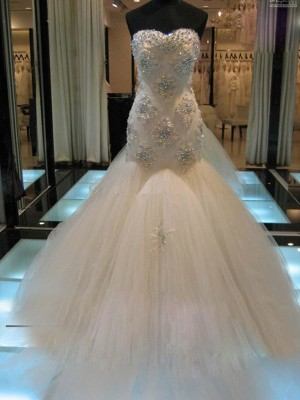 Trumpet/Mermaid Sweetheart Sleeveless Court Train Tulle Wedding Dresses with Beading