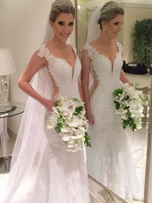 Trumpet/Mermaid V-neck Sleeveless Sweep/Brush Train Lace Wedding Dresses with Lace