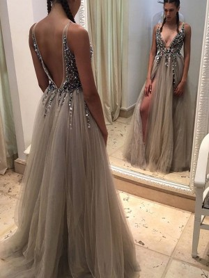 A-Line/Princess V-neck Sleeveless Sweep/Brush Train Tulle Dresses with Paillette