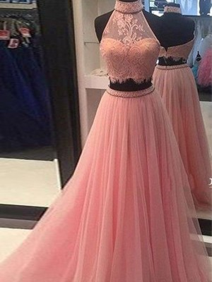A-Line/Princess High Neck Sleeveless Floor-Length Tulle Dresses with Lace