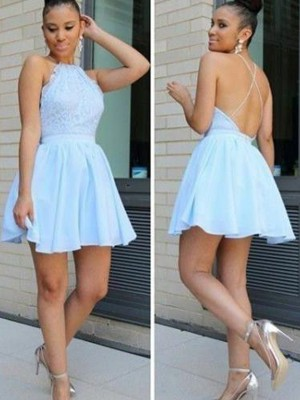 A-Line/Princess Halter Sleeveless Short/Mini Chiffon Dresses with Lace