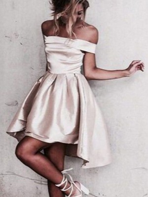 A-Line/Princess Off-the-Shoulder Sleeveless Short/Mini Satin Dresses