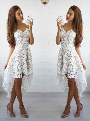 A-Line/Princess Spaghetti Straps Sleeveless Short/Mini Lace Dresses