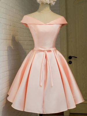 A-Line/Princess V-neck Sleeveless Short/Mini Satin Dresses with Sash/Ribbon/Belt