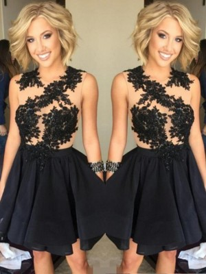 A-Line/Princess Scoop Sleeveless Short/Mini Chiffon Dresses with Lace
