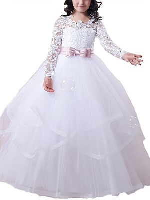 Ball Gown Jewel Long Sleeves Floor-Length Tulle Flower Girl Dresses with Lace