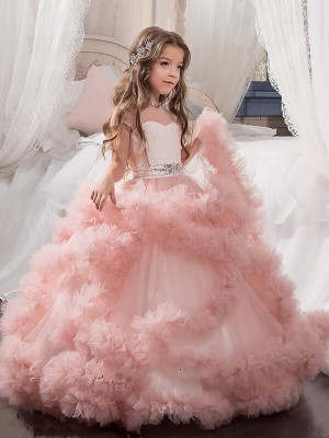 Ball Gown Jewel Short Sleeves Floor-Length Tulle Flower Girl Dresses with Crystal