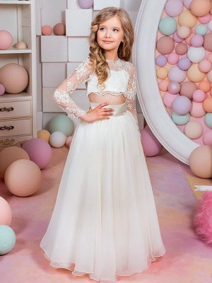 A-Line/Princess Jewel Long Sleeves Floor-Length Chiffon Flower Girl Dresses with Lace