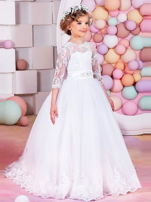 Ball Gown Jewel 1/2 Sleeves Sweep/Brush Train Tulle Flower Girl Dresses with Lace