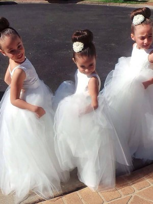 White Ball Gown Jewel Floor-Length Flower Girl Dresses