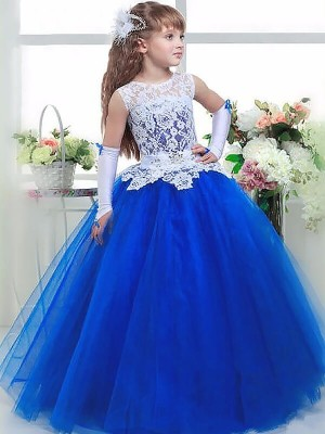 Ball Gown Jewel Sleeveless Floor-Length Tulle Flower Girl Dresses with Lace