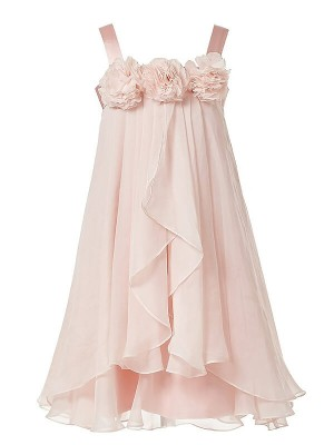 A-Line/Princess Straps Sleeveless Ankle-Length Chiffon Flower Girl Dresses with Hand-Made Flower