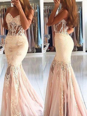 Trumpet/Mermaid Sweetheart Sleeveless Sweep/Brush Train Tulle Dresses with Lace