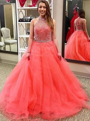 Ball Gown Halter Sleeveless Floor-Length Tulle Dresses with Beading