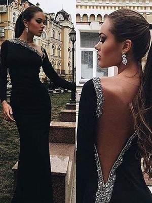 Trumpet/Mermaid One-Shoulder Long Sleeves Floor-Length Spandex Dresses with Beading