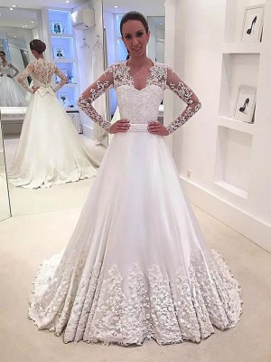 A-Line/Princess V-neck Long Sleeves Sweep/Brush Train Satin Wedding Dresses