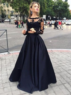 Ball Gown Bateau Long Sleeves Floor-Length Satin Dresses with Beading
