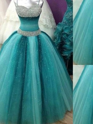 Ball Gown Spaghetti Straps Sleeveless Floor-Length Tulle Dresses with Beading