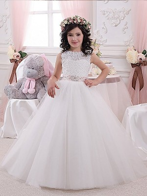 Ball Gown Scoop Sleeveless Floor-Length Tulle Flower Girl Dresses with Sash/Ribbon/Belt