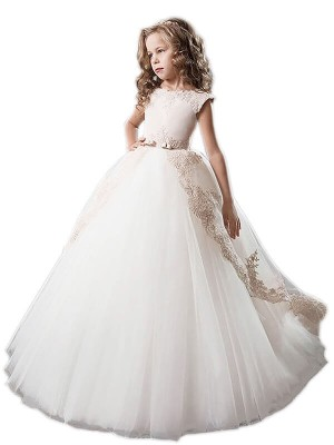 Ball Gown Scoop Sleeveless Floor-Length Tulle Flower Girl Dresses with Applique