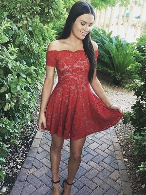 A-Line Lace Short Sleeves Off-the-Shoulder Short Red Dresses